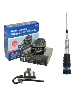 Station CBR CBI Antenne CBI ESCORT CB 8024 ASQ + CB PNI ML160 avec support T941